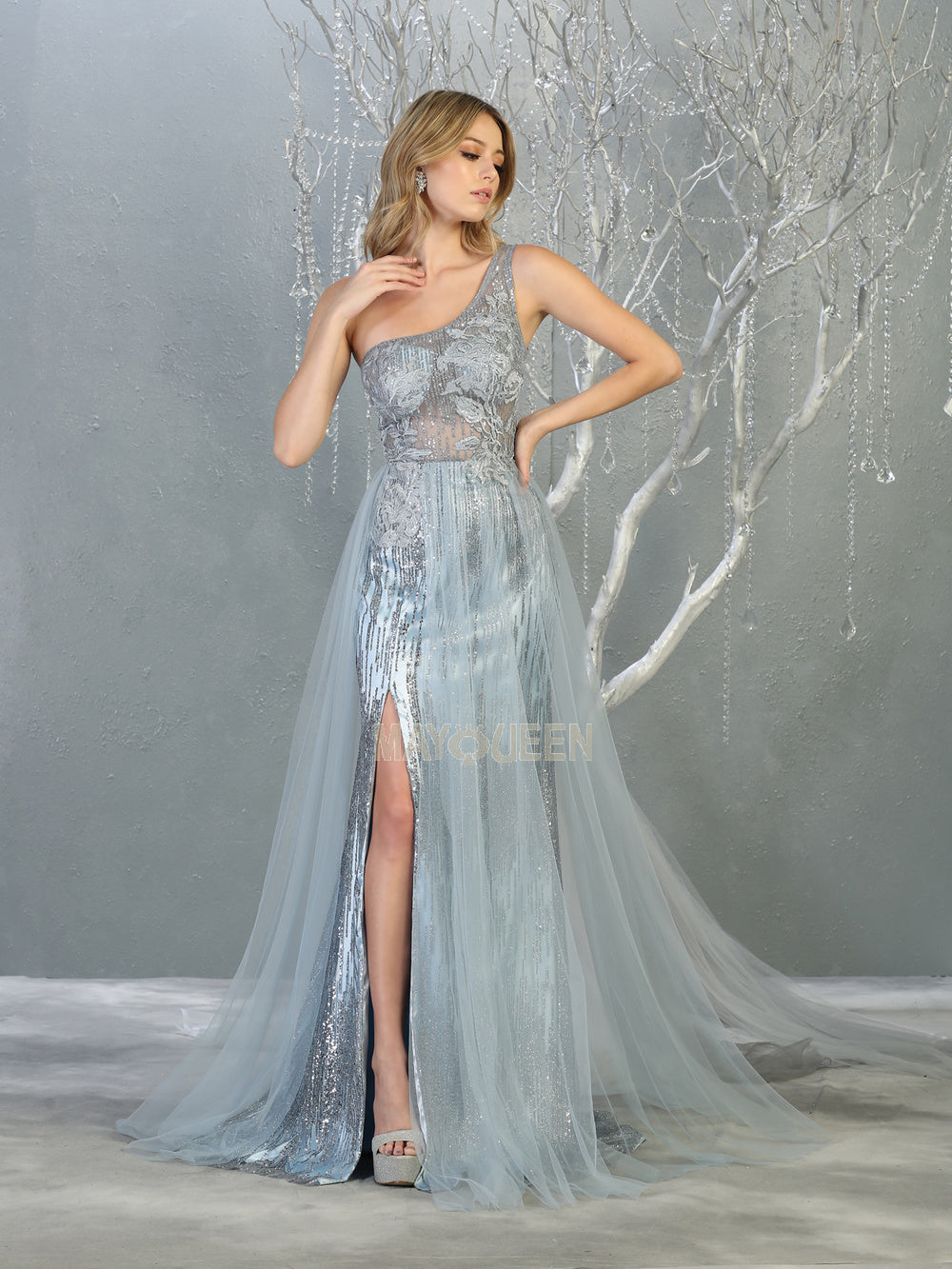 Mayqueen Size Chart E MQ 7816 - One shoulder a-line prom gown with high leg slit and glitter embellishment. - Diggz Prom