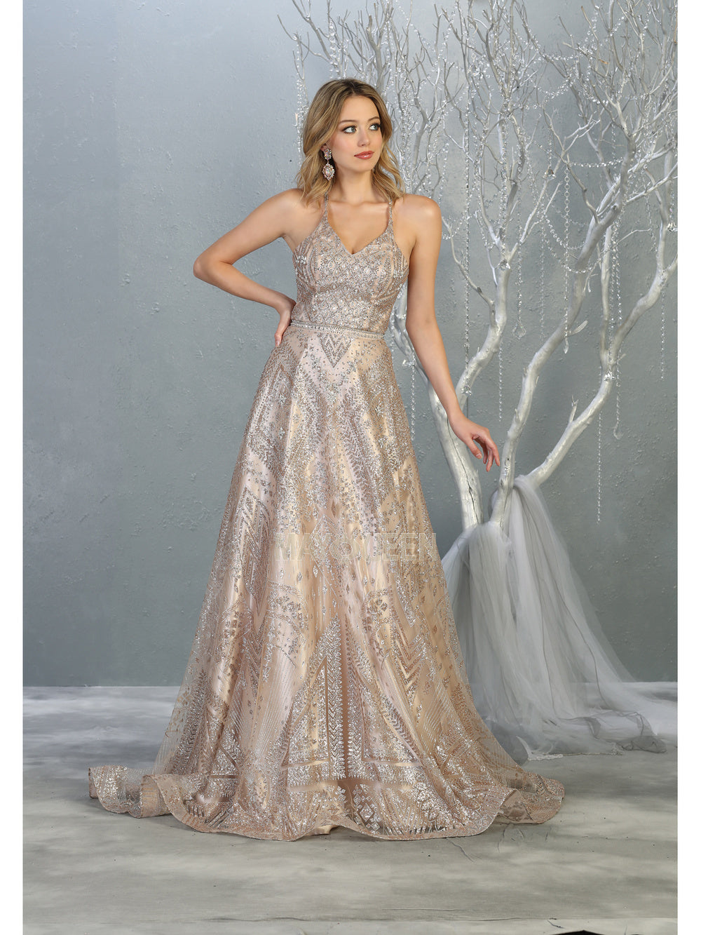 MQ 7817 - A Line Prom Gown with Full Glitter Print & Beaded Belt