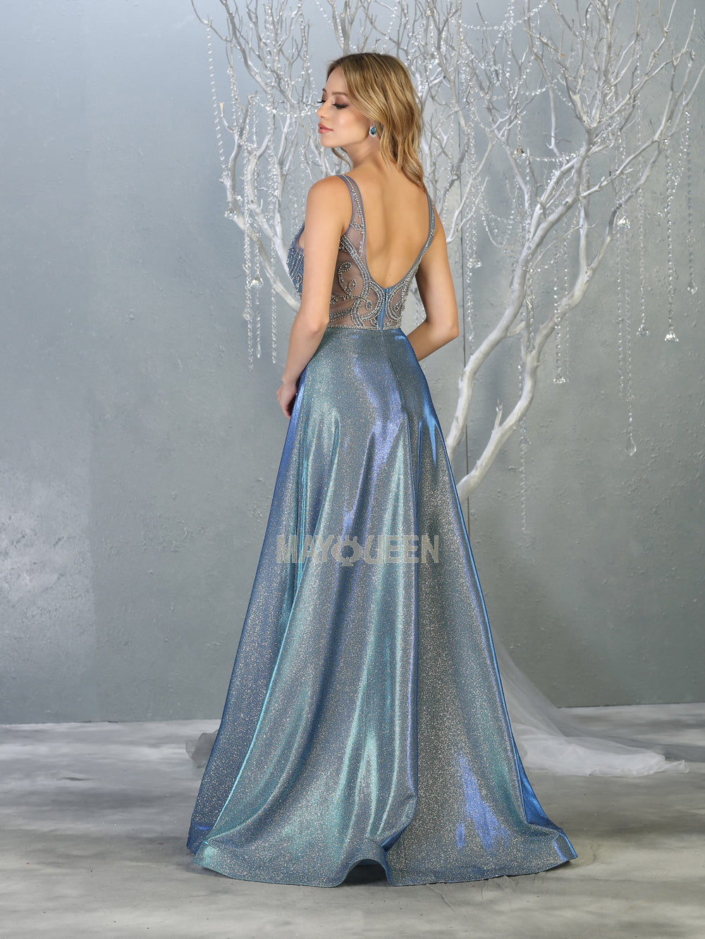 Mayqueen Size Chart E MQ 7819 - Metallic A-Line Prom Gown with Beaded Lace Embroidered Bodice & Open Back - Diggz Prom