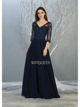 MQ 7820 - A Line Prom Gown with Lace Embroidered Bodice & Sheer Lace Long Sleeves