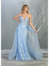 MQ 7823 - Floral Lace Fit & Flare with V Neck Spaghetti Strap Corset & Removable Tulle Skirt - Diggz Prom