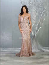 Mayqueen Size Chart E MQ 7830 - A-Line Fit and Flare Off the Shoulder Gown with Glitter Design and Beaded Belt - Diggz Prom