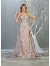 Mayqueen Size Chart E MQ 7834 - Floral lace a-line gown with layered skirt. - Diggz Prom