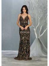 MQ 7837 - Fit & Flare Sequin Embellished Gown with Deep V Neck & Open Strappy Back