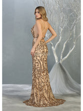Mayqueen Size Chart E MQ 7837 - Fitted A-Line Gown with Deep V Neck and Glitter Design - Diggz Prom
