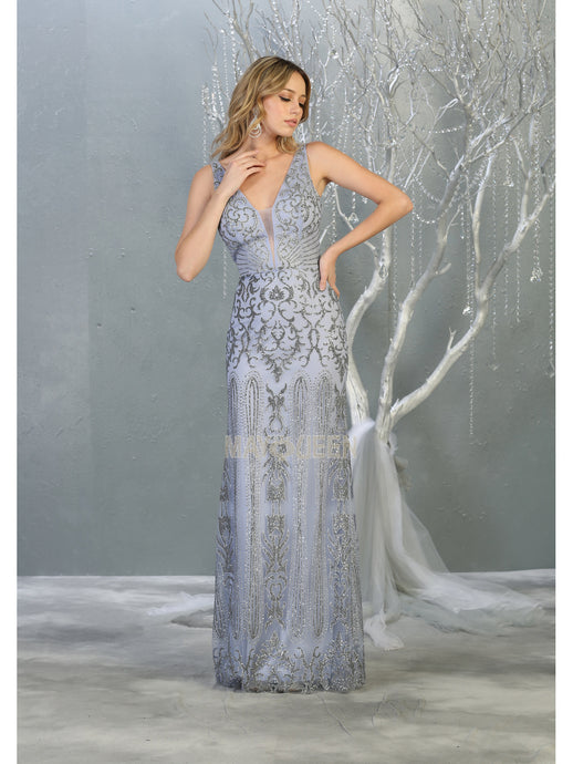 MQ 7840 - A Line Prom Gown with Full Glitter Lace Design & V Neckline