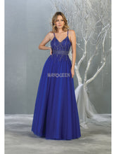 Mayqueen Size Chart E MQ 7841 - A-Line Tulle Overlay Formal Gown with V-neck and V-Back - Diggz Prom