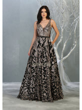 Mayqueen Size Chart E MQ 7842 - Geometric A-Line Gown with Deep V-Neck and Gold Glitter Embellishment - Diggz Prom