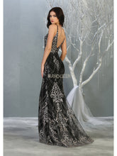 MQ 7843 - Fit & Flare Prom Gown with Glitter Lace & Mesh Bodice