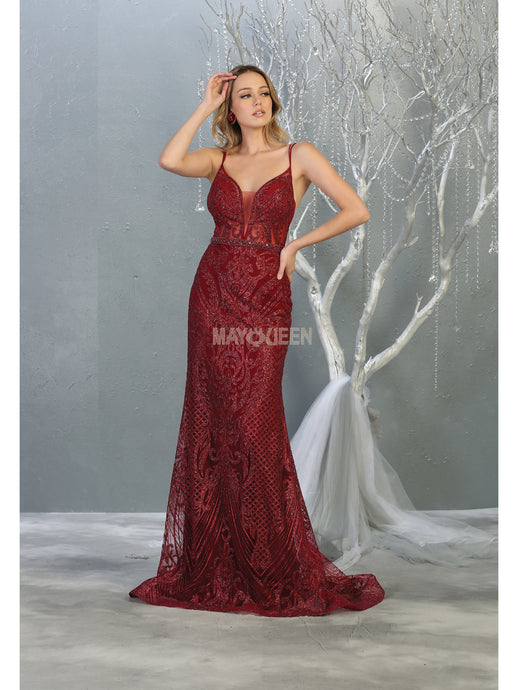 Mayqueen Size Chart E MQ 7846 - Fitted Glitter Patterned Gown with Deep V Neckline, Sheer Bodice and Beaded Belt - Diggz Prom