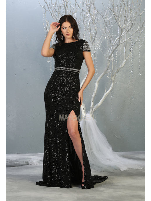 MQ 7848 - Fitted Prom Gown with Beaded Sleeves & High Leg Slit