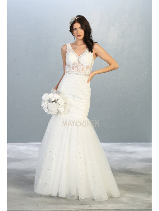 MQ 7849 W - Lace & Bead Embellished Mermaid Wedding Gown with Illusion Bodice V-Neck & Tulle Skirt