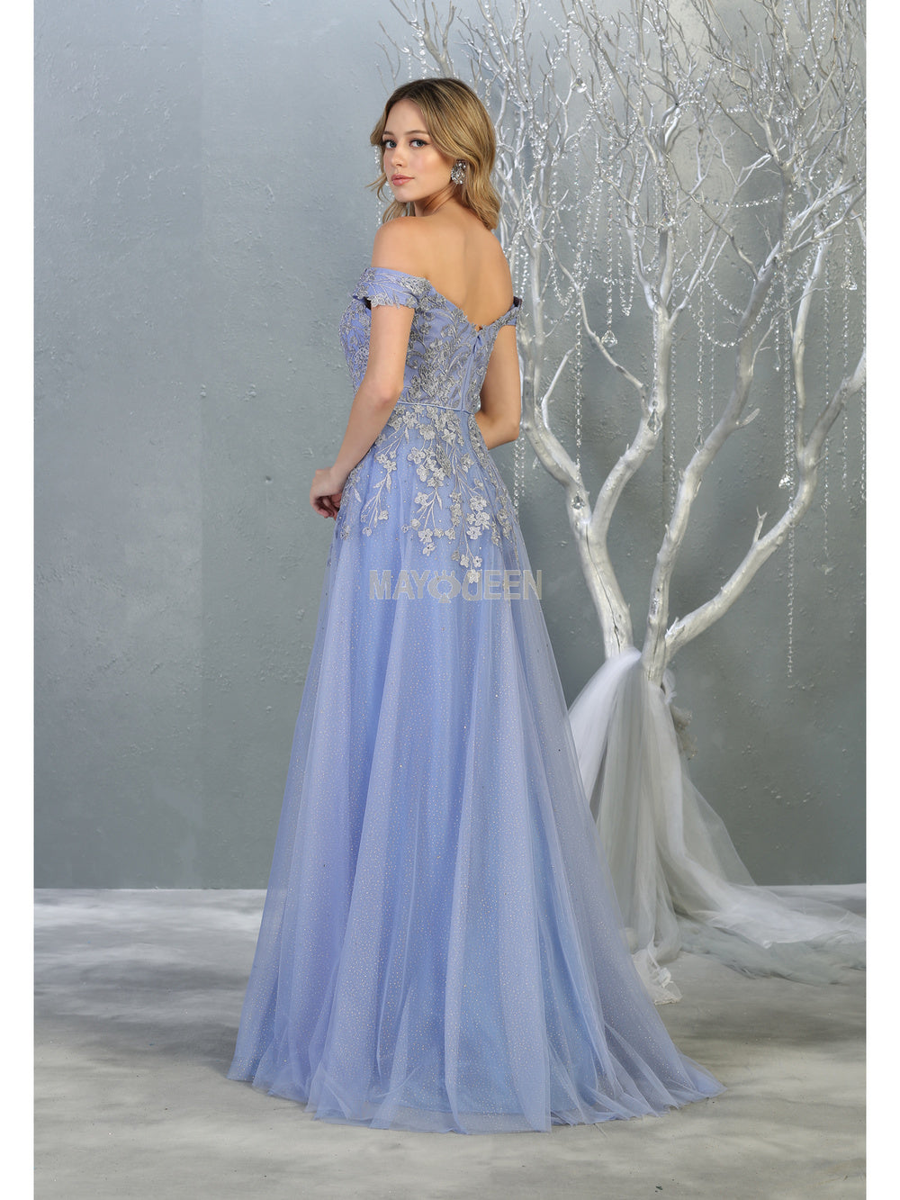 MQ 7850 - Off the Shoulders Ball Gown with 3D Floral Applique Bodice & Tulle Skirt