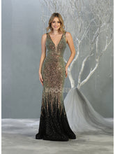 MQ 7851 - Ombre Sequin Fit & Flare Prom Gown with Illusion V-Neck & Open Back - Diggz Prom