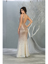 MQ 7851 - Ombre Sequin Fit & Flare Prom Gown with Illusion V-Neck & Open Back