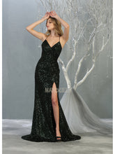 Mayqueen Size Chart E MQ 7852 - A-Line Full Sequin Gown with High Leg and Lace Up Back - Diggz Prom