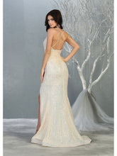 MQ 7854 - Full Sequin Fit & Flare Prom Gown with Halter V-Neck Open Strappy Back & Leg Slit