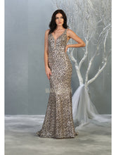 MQ 7855 - Leopard Print Sequin Fit & Flare Prom Gown with V-Neck Open Back & Train