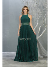 MQ 7856 - A Line Prom Gown with Halter Neckline & Beaded Waistband