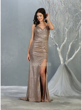 Mayqueen Size Chart E MQ 7859 - Sweetheart a-line prom dress with wrapped bodice and leg slit. - Diggz Prom