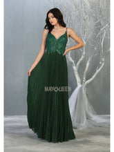 Mayqueen Size Chart E MQ 7862 - A-line prom gown with beaded bodice and pleated skirt. - Diggz Prom