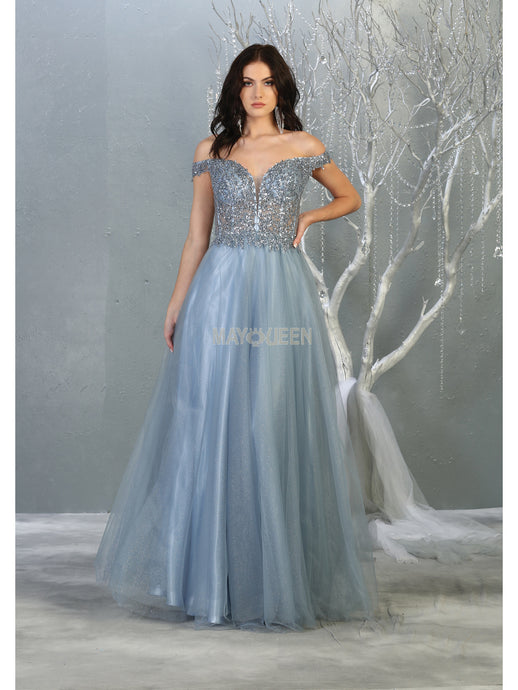 MQ 7864- Fit & Flare Off Shoulder Gown with Sequin Bodice