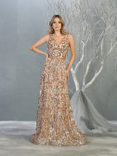 Mayqueen Size Chart E MQ 7866 - A-Line Sequin Design Gown with V Neck and Beaded Belt - Diggz Prom
