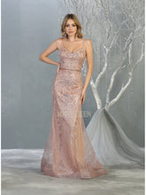 MQ 7868 - Fit and Flare Sweetheart Neck Gown with Glitter Design and Beaded Belt - Diggz Prom
