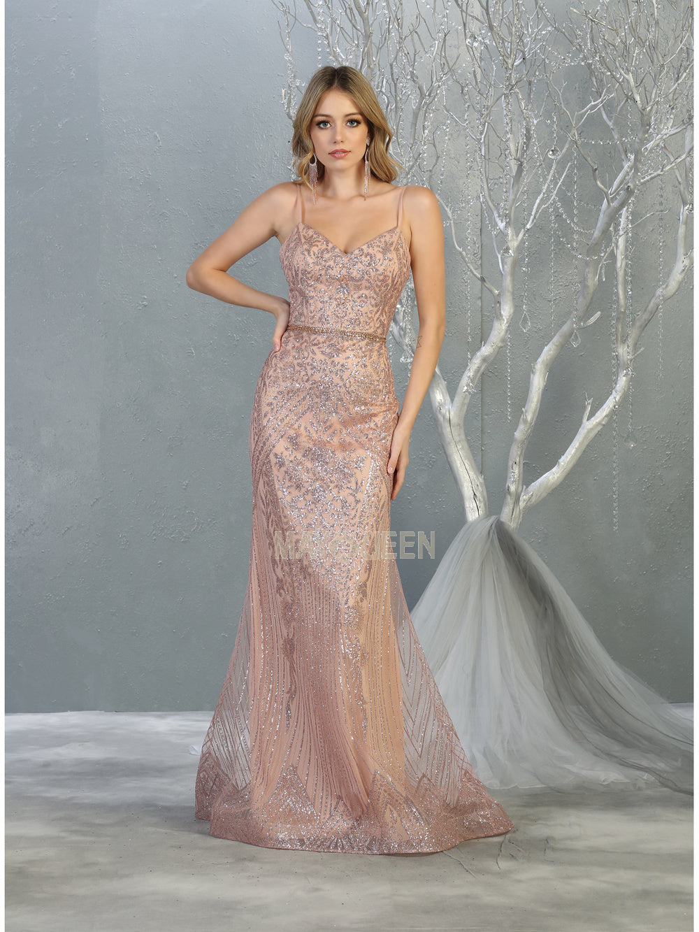 Mayqueen Size Chart E MQ 7868 - Fit and Flare Sweetheart Neck Gown with Glitter Design and Beaded Belt - Diggz Prom