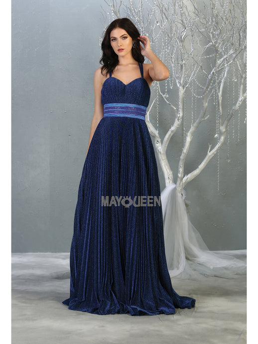 Mayqueen Size Chart E MQ 7869 - Metallic Glitter Pleated A-line Prom Gown with Spaghetti Straps & Bead Embellished Belt - Diggz Prom