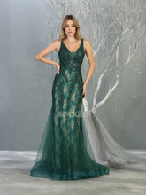 MQ 7872 - Fit & Flare Prom Gown with Beaded Lace Applique & Tulle Overskirt