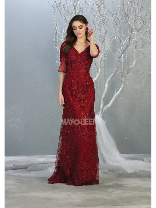MQ 7873 - 3/4 Sleeve Lace & Applique Gown with V-Neck & Train