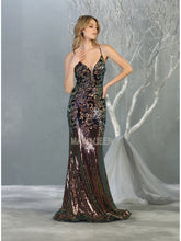 Mayqueen Size Chart E MQ 7874 - Multi Color Sequin Fit and Flare Gown with Corset Strap Up Back - Diggz Prom