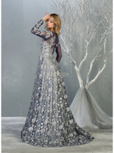 MQ 7875 - Long Sleeved A-Line Prom Gown with Sheer Applique Bodice & Glitter Tulle Overlay Skirt