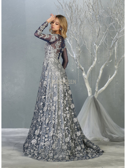 MQ 7875 - Long Sleeved A-Line Prom Gown with Sheer Applique Bodice & Glitter Tulle Overlay Skirt - Diggz Prom