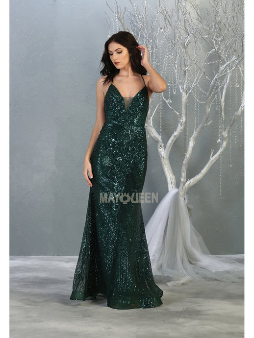 MQ 7878 - Fit & Flare Prom Gown with Sequin Design & Corset Lace Up Back