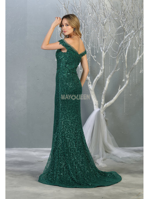 Mayqueen Size Chart E MQ 7879 - Off the Shoulder A-Line Gown with Sweetheart Neckline and Glitter Design - Diggz Prom