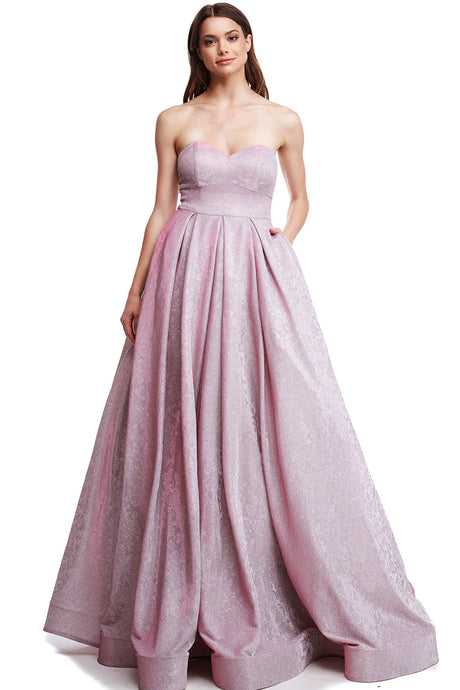Diggz Prom BC RR19032 - Strapless Sweetheart Neckline Glitter Ballgown with Lace Up Back and Pockets - Diggz Prom
