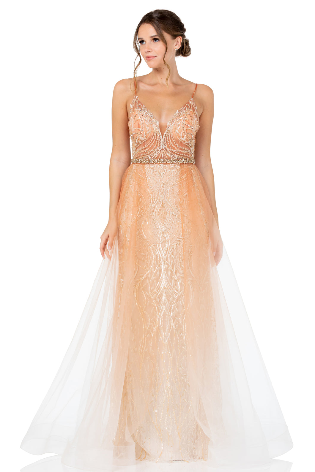 BC RR33048 - A-Line V-Neck Lace Gown with Tulle Overlay and Embellished Lace Sheer Bodice - Diggz Prom