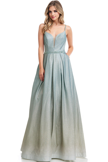 Diggz Prom BC RR8623 - A-Line Glitter Metallic Ombre Gown with Beaded Belt and Side Pockets - Diggz Prom