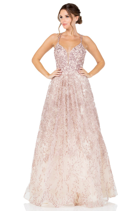 Diggz Prom BC RR8700 - A-Line Beaded Ball Gown with Embroidered Skirt and Strappy Beaded Back - Diggz Prom