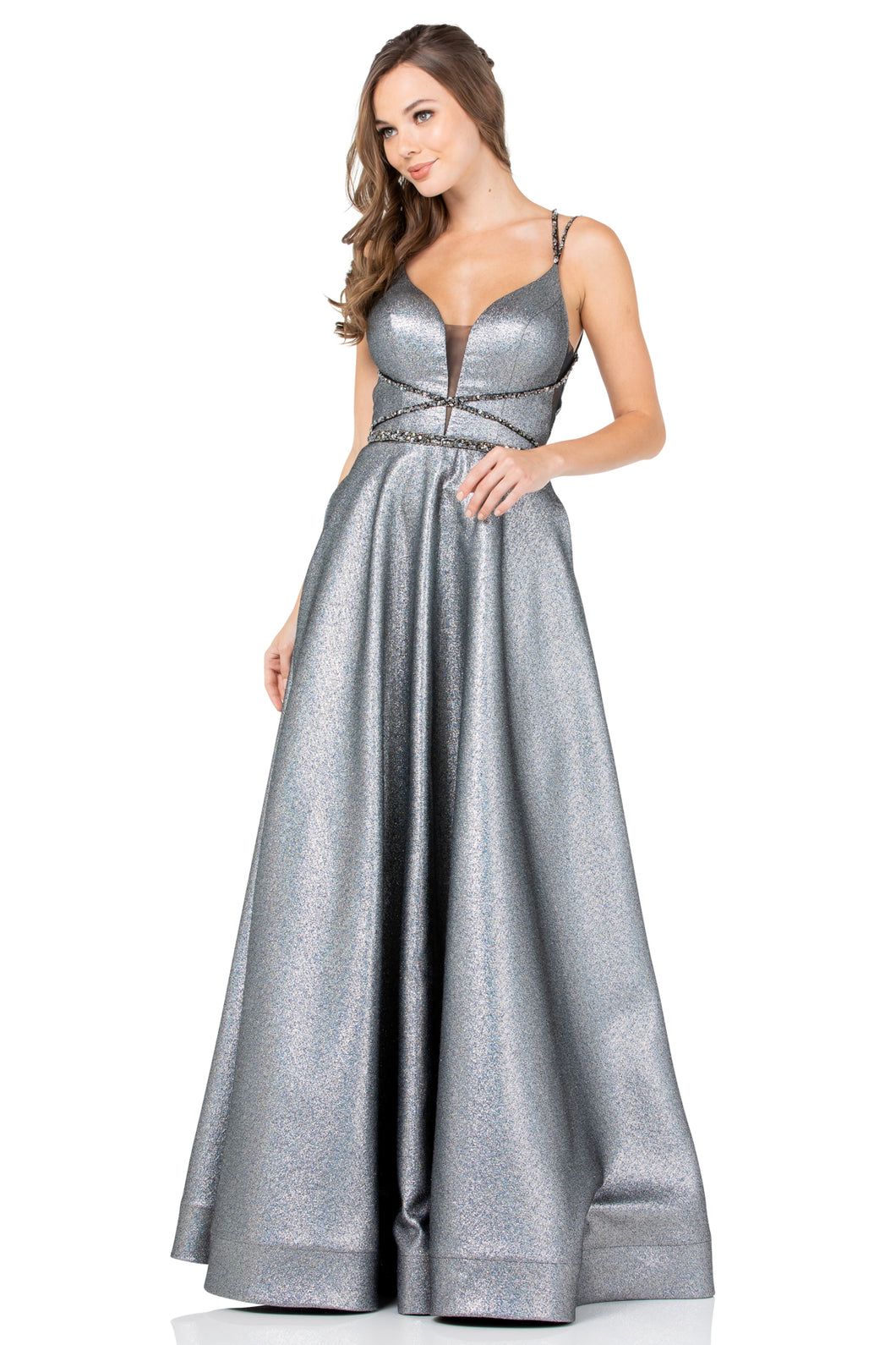 BC RR8794 - V-Neck Open Back A-Line Formal Gown with Strappy Bodice and Pockets - Diggz Prom