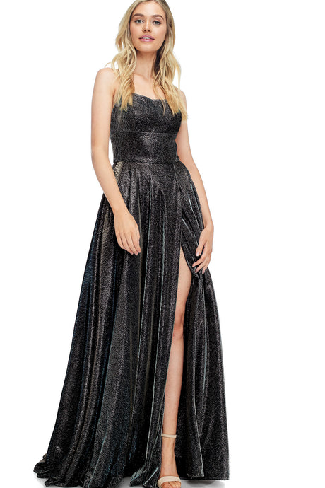 Diggz Prom BC TR77874 - A-Line Metallic Fabric Gown with Open Lace Up Back and High Leg Slit - Diggz Prom