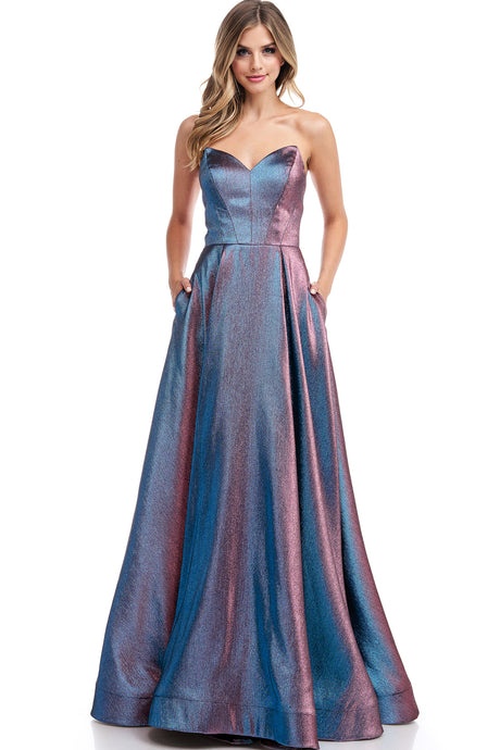 Diggz Prom BC TR78059 - A-Line Strapless Metallic Gown with Sweetheart Neckline, Side Pockets and Corset Back - Diggz Prom