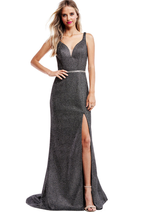Diggz Prom BC WF251 - Fitted  V-Neck Formal Gown with Embellished Belt and High Leg Slit - Diggz Prom