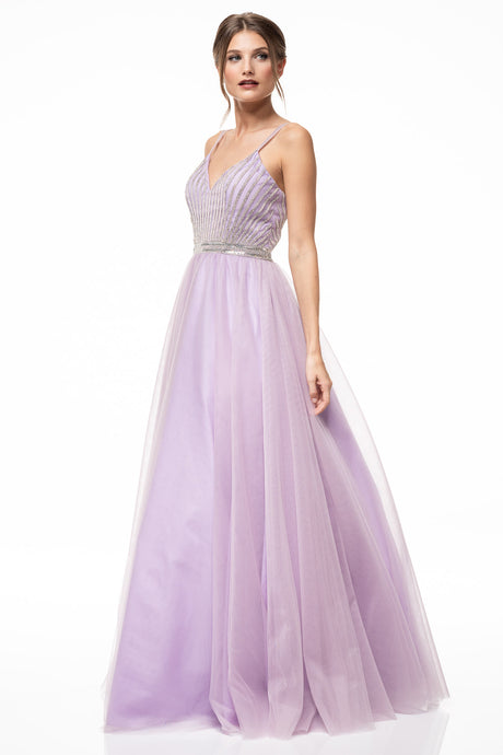 Diggz Prom BC YD0774 - A-Line Tulle Formal Gown with Embellished Top and Belt and Double Straps - Diggz Prom
