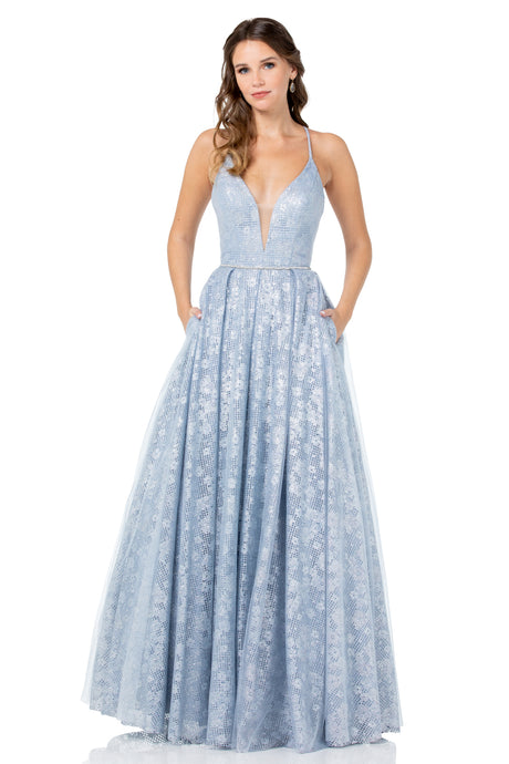 Diggz Prom BC YD7553 - A-Line Deep V Glitter Pattern Ball Gown with Open Strappy Back and Pockets - Diggz Prom