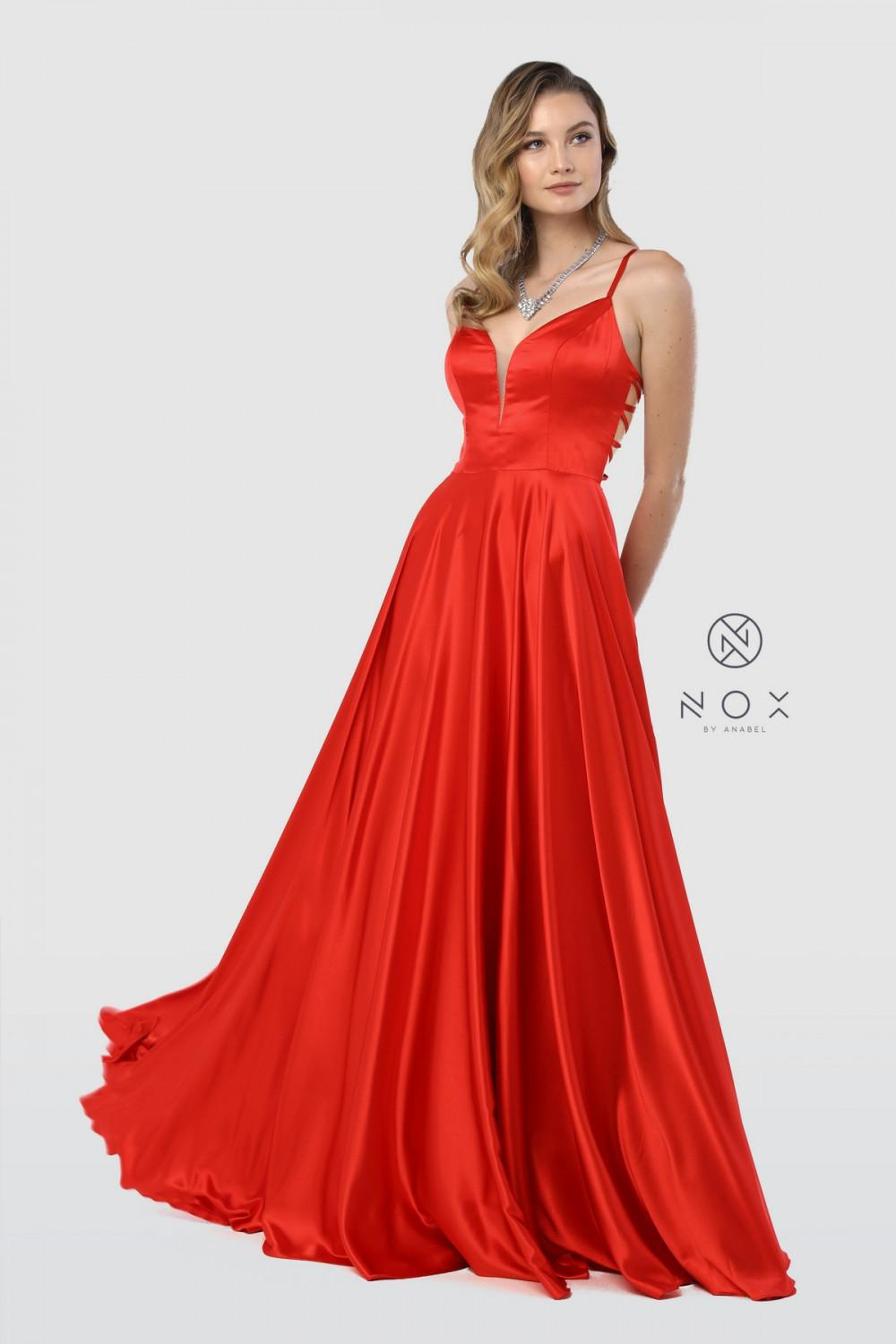 Nox N A180 - Satin A-Line Prom Gown with V-Neck Strappy Back & Side Pockets - Diggz Prom