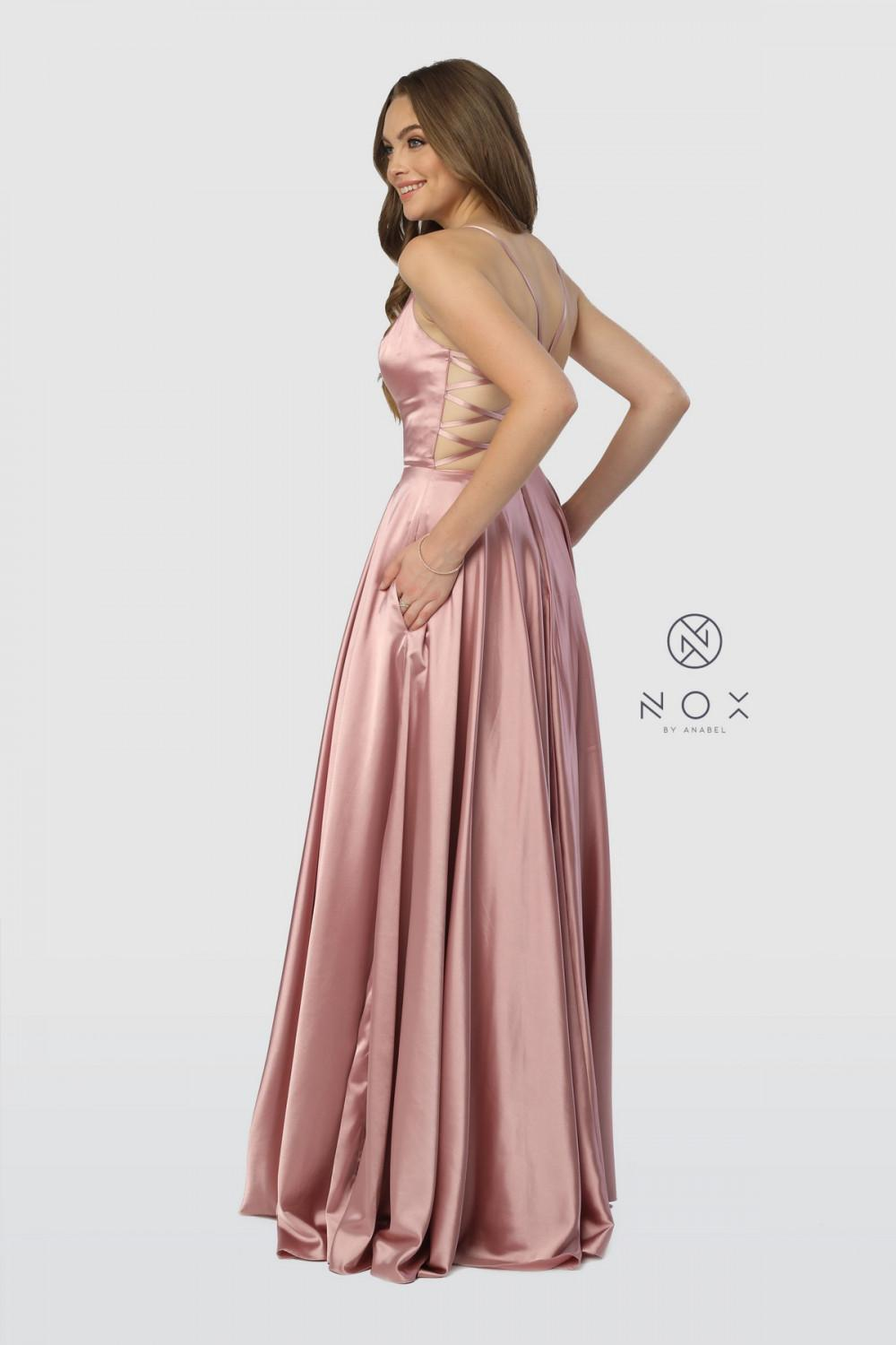 Narianna Size Chart B N A180 - Deep V Satin Gown with Lace up Back and Side Pockets - Diggz Prom