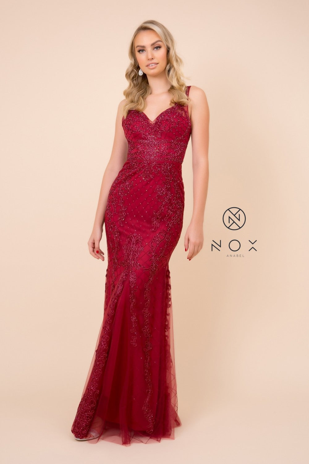 Nox N A398 - Fit & Flare V-Neck Prom Gown with Lace Applique & Beading - Diggz Prom